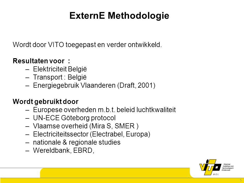 5 ExternE Methodologie Wordt door VITO toegepast en verder ontwikkeld.