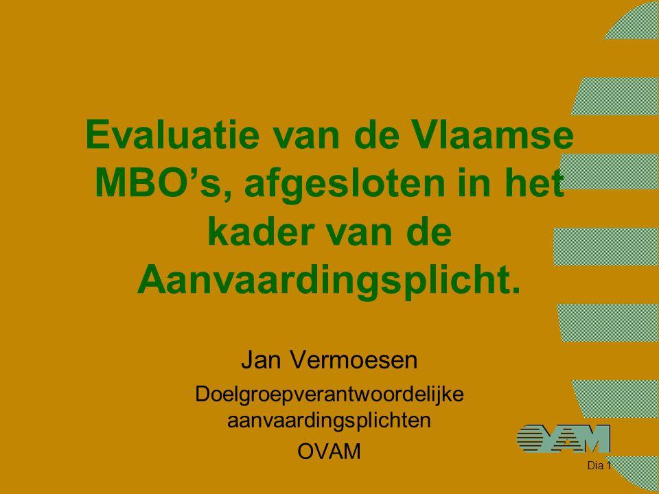 Dia 1 Evaluatie van de Vlaamse MBO's, afgesloten in het kader van de Aanvaardingsplicht. Jan Vermoesen Doelgroepverantwoordelijke aanvaardingsplichten