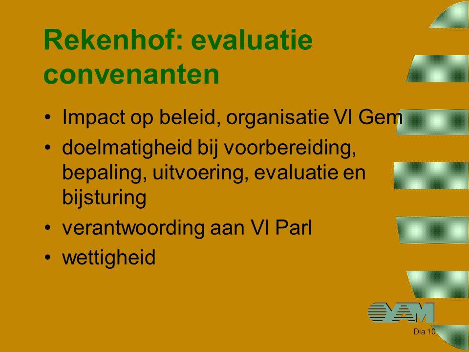 Dia 10 Rekenhof: evaluatie convenanten Impact op beleid, organisatie Vl Gem doelmatigheid bij voorbereiding, bepaling, uitvoering, evaluatie en bijsturing verantwoording aan Vl Parl wettigheid