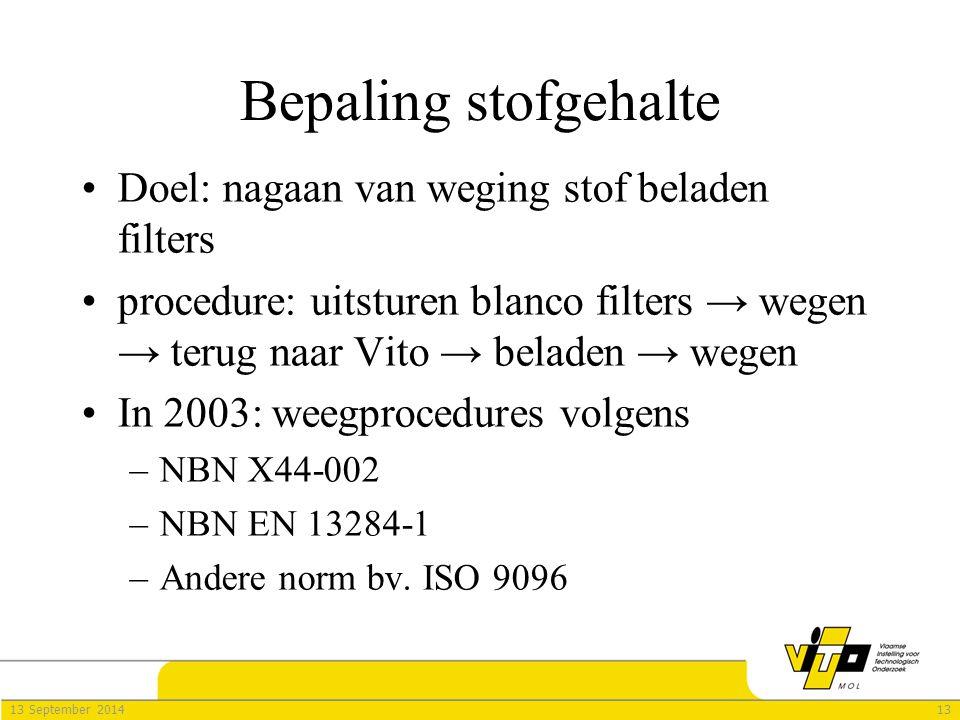 1313 September 2014 Bepaling stofgehalte Doel: nagaan van weging stof beladen filters procedure: uitsturen blanco filters → wegen → terug naar Vito →