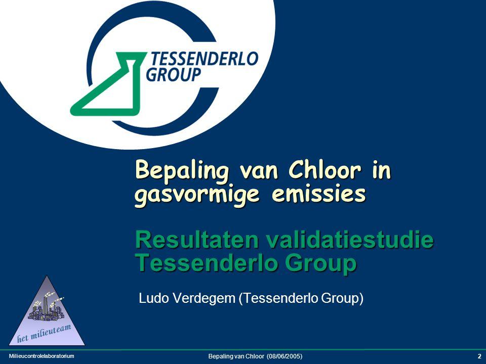 Milieucontrolelaboratorium Bepaling van Chloor (08/06/2005)3 Introductie Overzicht Tessenderlo Group en relatie met HCl / Cl 2 Meetmethodiek voor Cl 2  Internationale meetmethoden .