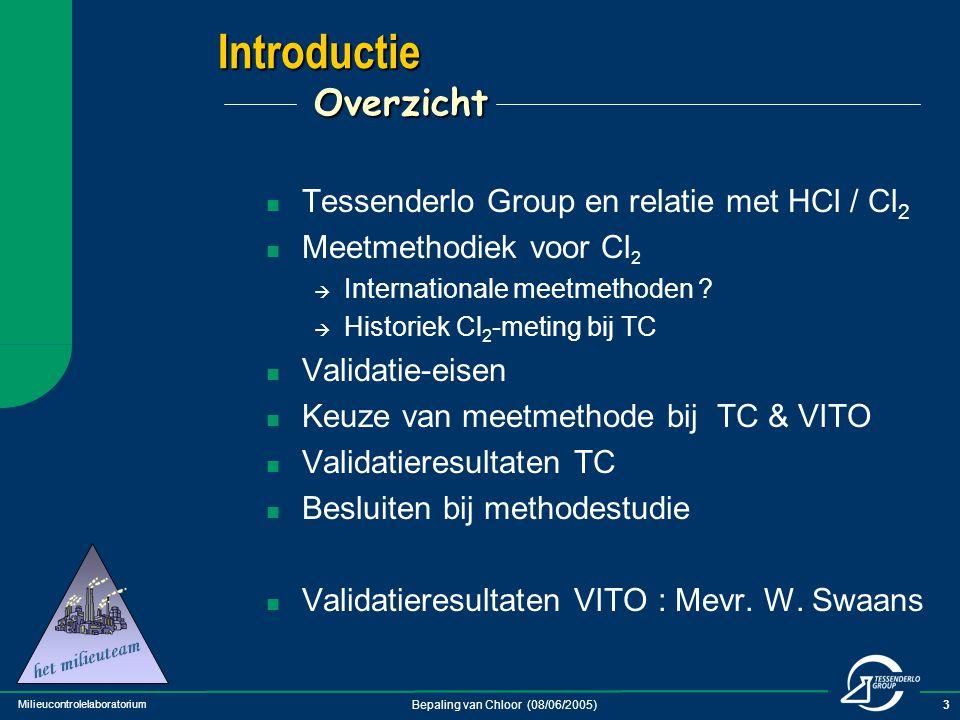 Milieucontrolelaboratorium Bepaling van Chloor (08/06/2005)14 Keuze meetmethode bij validatie Verschillen TC / VITO TC : gaswasfles 1 + 2 = H 2 SO 4 gaswasfles 3 + 4 = As 2 O 3 in NaOH-midden VITO:gaswasfles 1 + 2 = H 2 SO 4 gaswasfles 3 + 4 = NaOH (+ Na 2 S 2 O 3 additie)