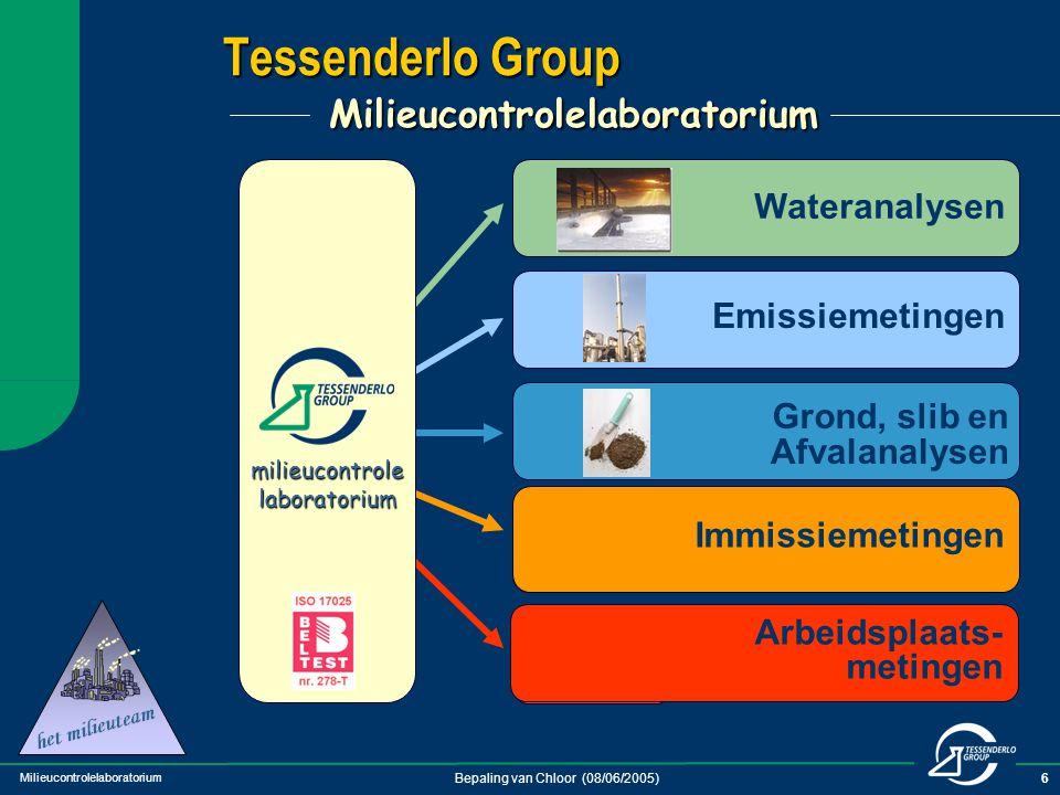 Milieucontrolelaboratorium Bepaling van Chloor (08/06/2005)6 Tessenderlo Group Milieucontrolelaboratorium Emissiemetingen Arbeidsplaats- metingen Wate