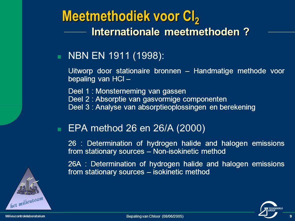 Milieucontrolelaboratorium Bepaling van Chloor (08/06/2005)10 Meetmethodiek voor Cl 2 Historiek van Cl 2 -meting bij TC (1) ~1985 : Titratiemethode  Absorptie gassen in NaOH  toevoegen van overmaat As 2 O 3  terugtitratie met I 2  HCl via aparte titratie met AgNO 3 ~1990 : Verschilmethode, via ionchromatografie  Absorptie gassen in NaOH  Analyse via IC na toevoeging overmaat As 2 O 3 (totale Cl)  Analyse via IC na uitdrijven Cl 2 met H 2 SO 4 (Cl van HCl)  Verschil = Cl 2