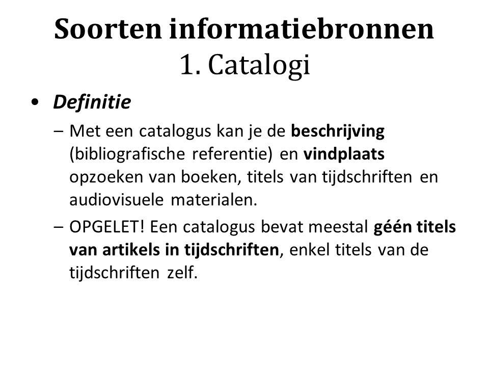 Soorten informatiebronnen 1.