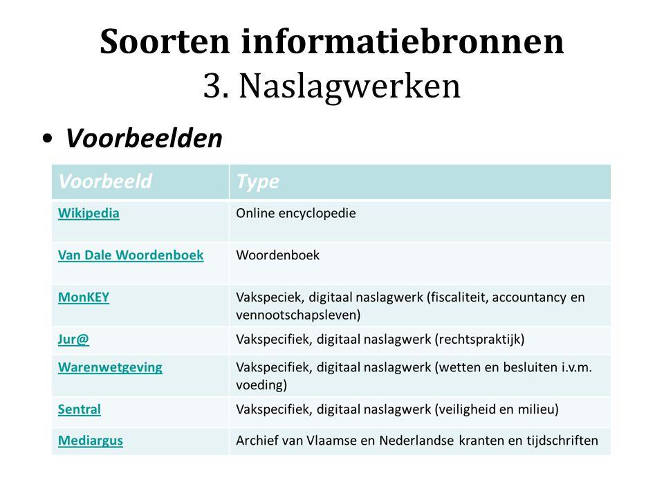 Soorten informatiebronnen 3. Naslagwerken Voorbeelden