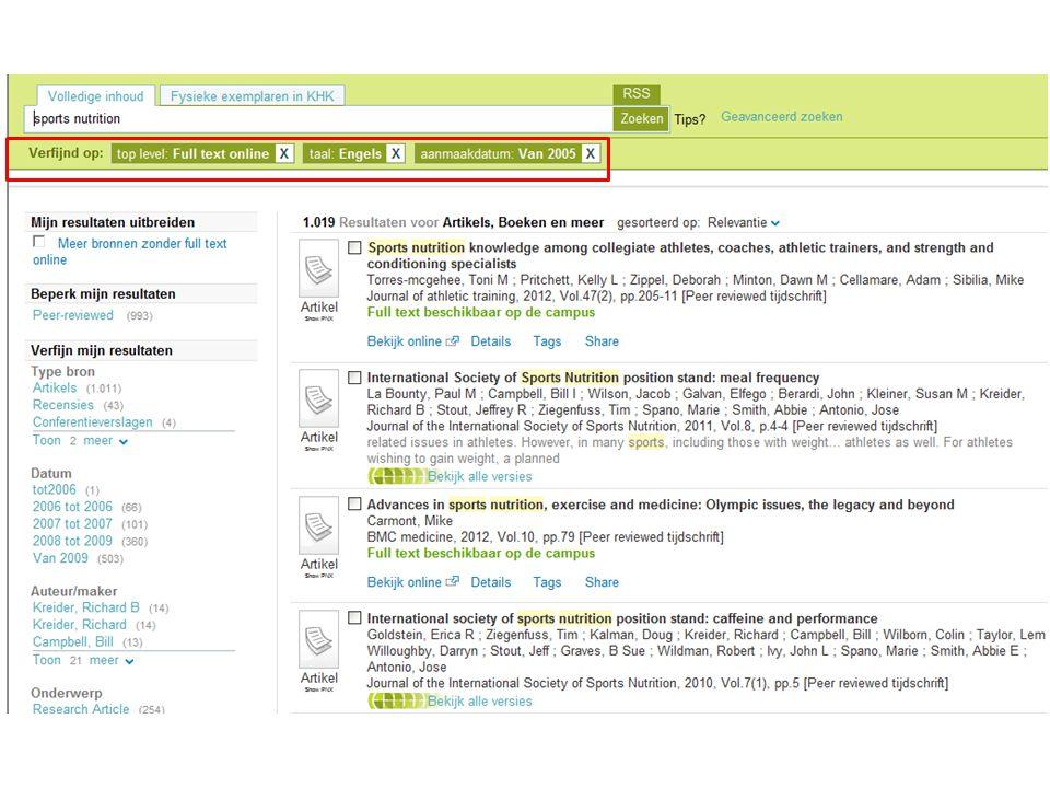 Ranking Standaard wordt de resultatenlijst gesorteerd op relevantie: – de documenten waarvan LIMO denkt dat ze het best beantwoorden aan je zoekvraag, staan bovenaan Je kan de lijst ook sorteren op recentste publicaties of titel A-Z