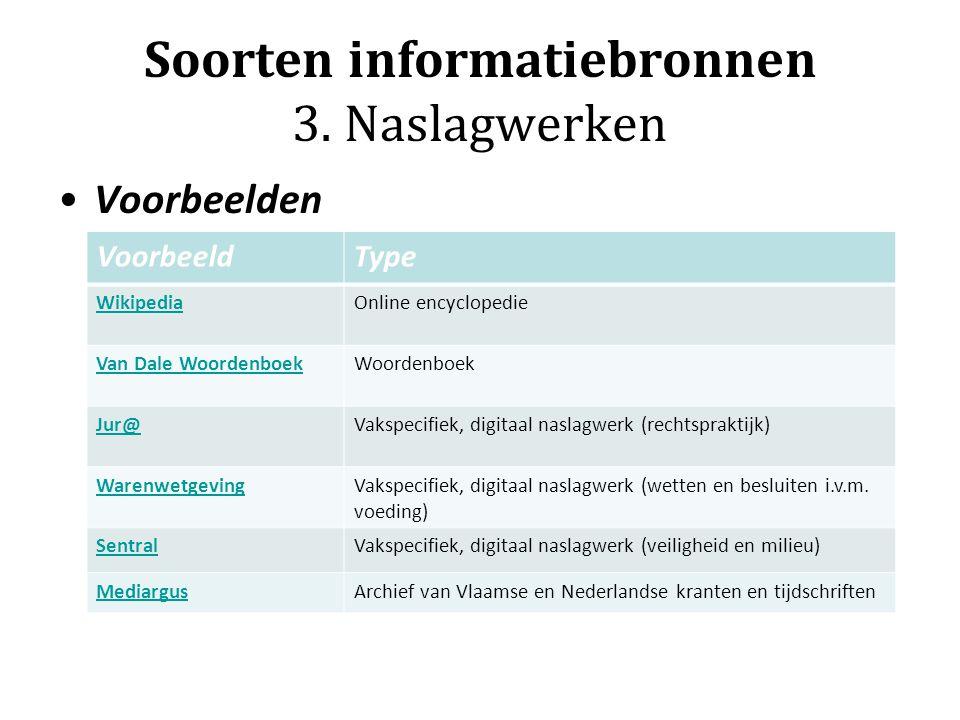Soorten informatiebronnen 3. Naslagwerken Voorbeelden VoorbeeldType WikipediaOnline encyclopedie Van Dale WoordenboekWoordenboek Jur@Vakspecifiek, dig