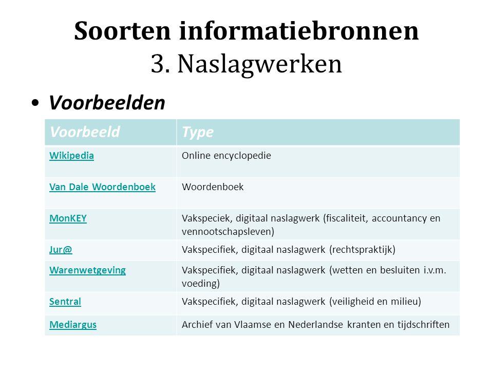 Soorten informatiebronnen 3. Naslagwerken Voorbeelden VoorbeeldType WikipediaOnline encyclopedie Van Dale WoordenboekWoordenboek MonKEYVakspeciek, dig