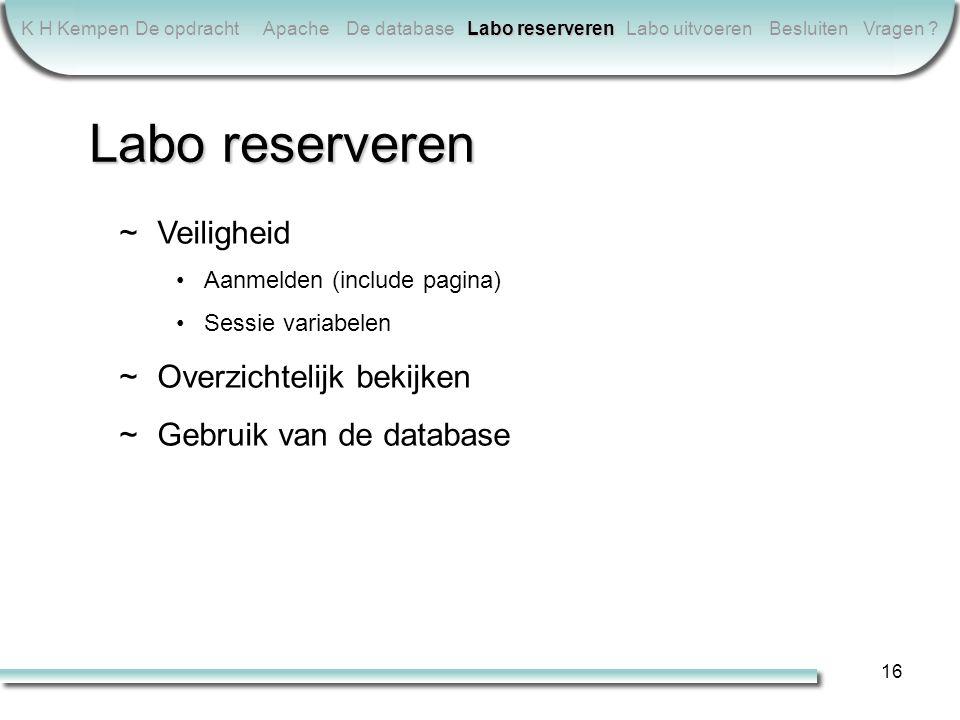 16 K H KempenDe opdrachtApacheDe database Labo reserveren Labo uitvoerenBesluitenVragen .