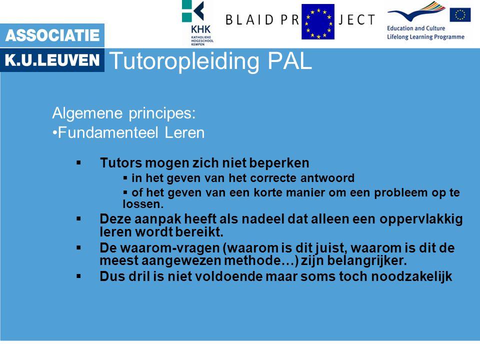 Tutoropleiding PAL Algemene principes: Fundamenteel Leren  Tutors mogen zich niet beperken  in het geven van het correcte antwoord  of het geven van een korte manier om een probleem op te lossen.