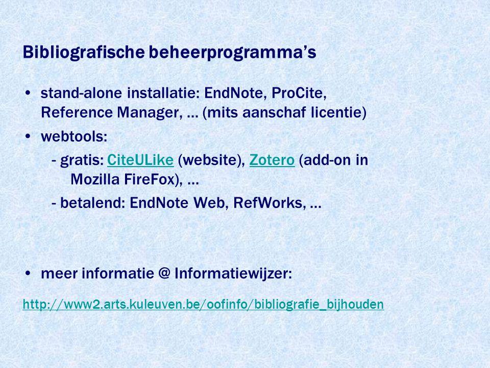 Bibliografische beheerprogramma's stand-alone installatie: EndNote, ProCite, Reference Manager,...