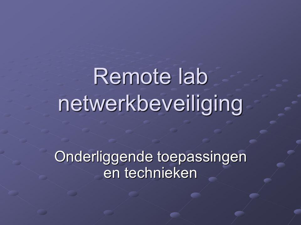 Remote lab netwerkbeveiliging Onderliggende toepassingen en technieken
