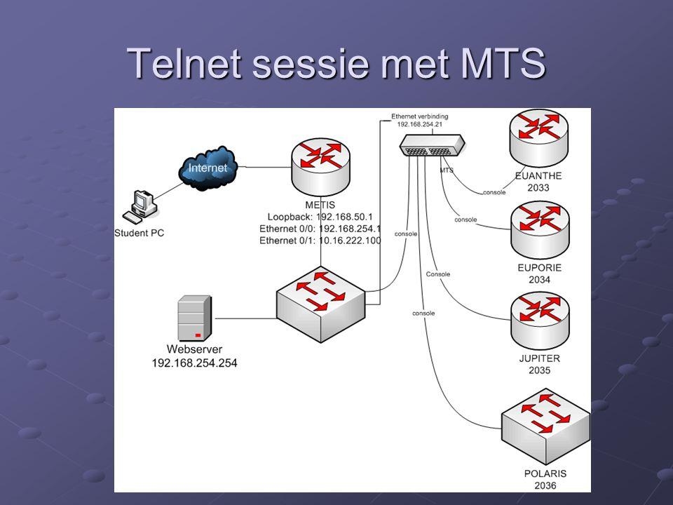 Telnet sessie met MTS