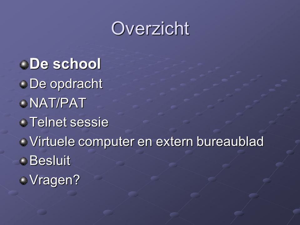 Overzicht De school De opdracht NAT/PAT Telnet sessie Virtuele computer en extern bureaublad BesluitVragen