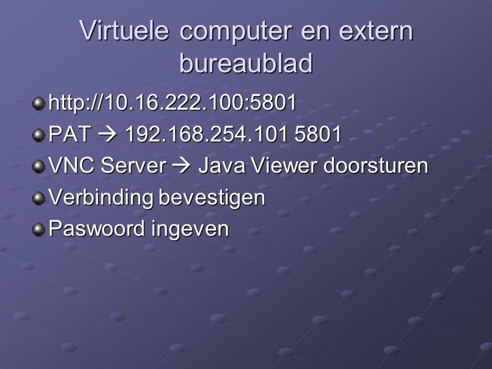 Virtuele computer en extern bureaublad http://10.16.222.100:5801 PAT  192.168.254.101 5801 VNC Server  Java Viewer doorsturen Verbinding bevestigen Paswoord ingeven