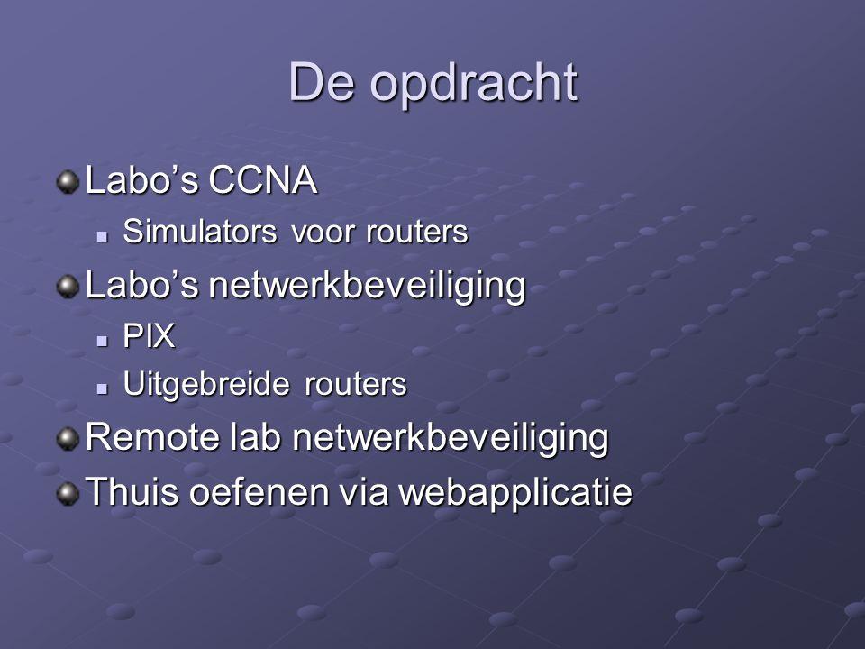 De opdracht Labo's CCNA Simulators voor routers Simulators voor routers Labo's netwerkbeveiliging PIX PIX Uitgebreide routers Uitgebreide routers Remote lab netwerkbeveiliging Thuis oefenen via webapplicatie