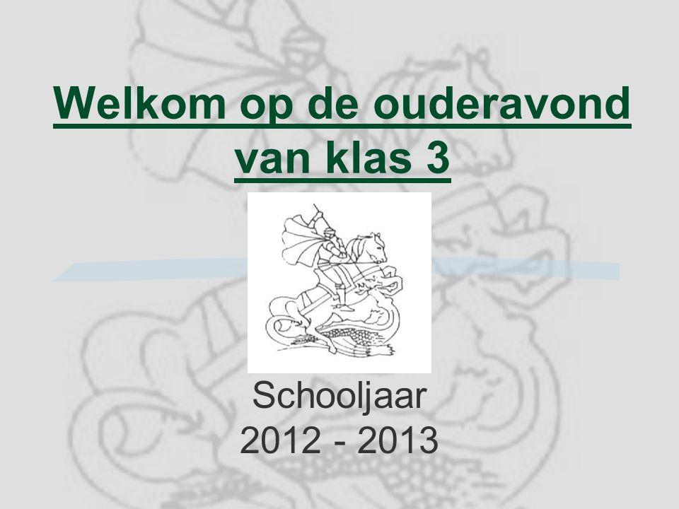 Welkom op de ouderavond van klas 3 Schooljaar 2012 - 2013