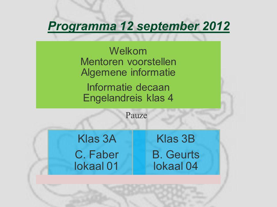 Programma 12 september 2012 Welkom Mentoren voorstellen Algemene informatie Informatie decaan Engelandreis klas 4 Klas 3A C.