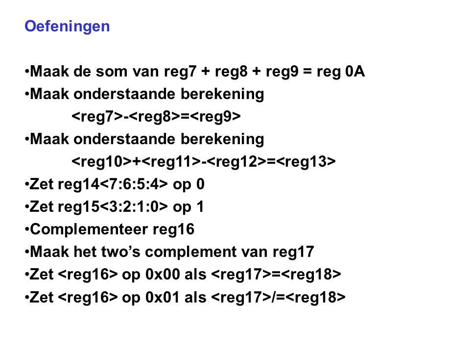 Oefeningen Maak de som van reg7 + reg8 + reg9 = reg 0A Maak onderstaande berekening - = Maak onderstaande berekening + - = Zet reg14 op 0 Zet reg15 op 1 Complementeer reg16 Maak het two's complement van reg17 Zet op 0x00 als = Zet op 0x01 als /=