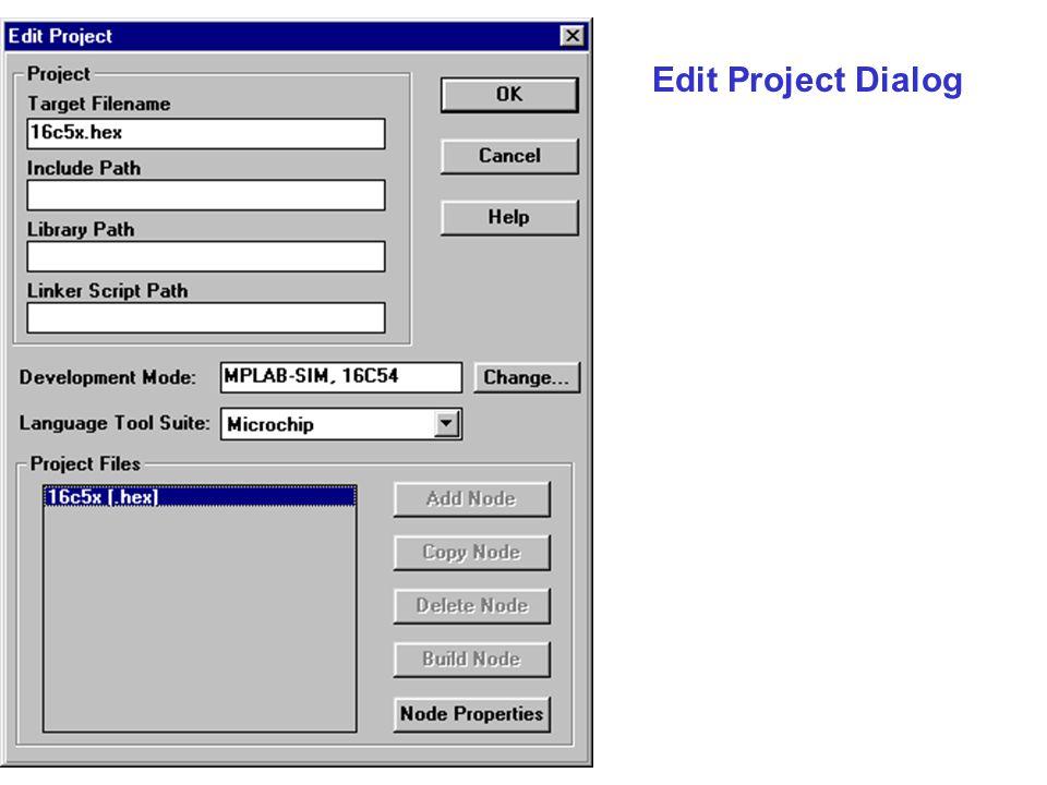 Edit Project Dialog