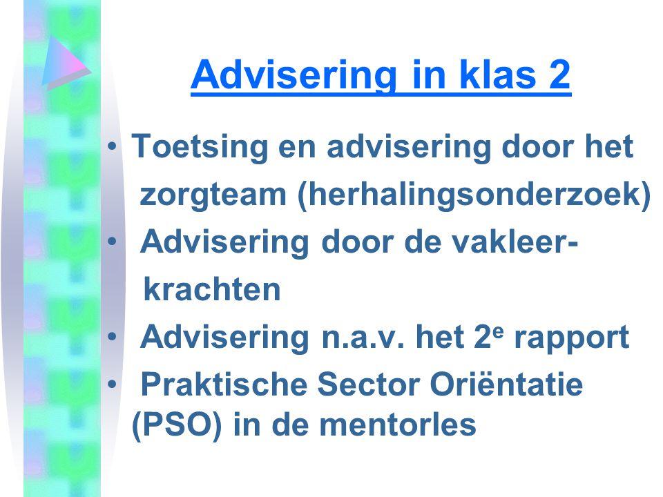 Advisering in klas 2 Toetsing en advisering door het zorgteam (herhalingsonderzoek) Advisering door de vakleer- krachten Advisering n.a.v. het 2 e rap