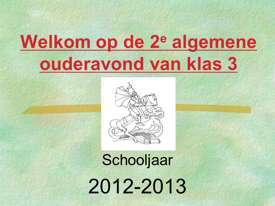 Welkom op de 2 e algemene ouderavond van klas 3 Schooljaar 2012-2013