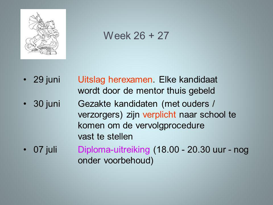 Week 26 + 27 29 juniUitslag herexamen.