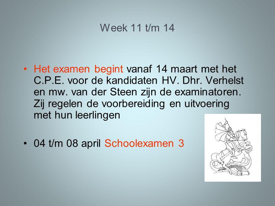 Week 11 t/m 14 Het examen begint vanaf 14 maart met het C.P.E.