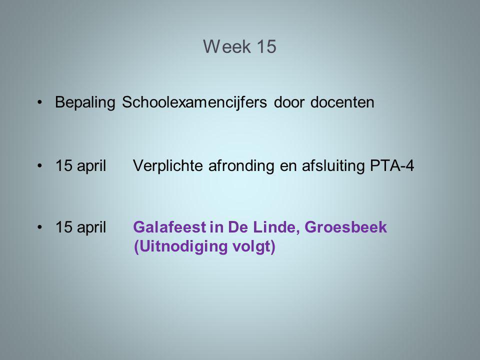 Week 15 Bepaling Schoolexamencijfers door docenten 15 aprilVerplichte afronding en afsluiting PTA-4 15 april Galafeest in De Linde, Groesbeek (Uitnodiging volgt)