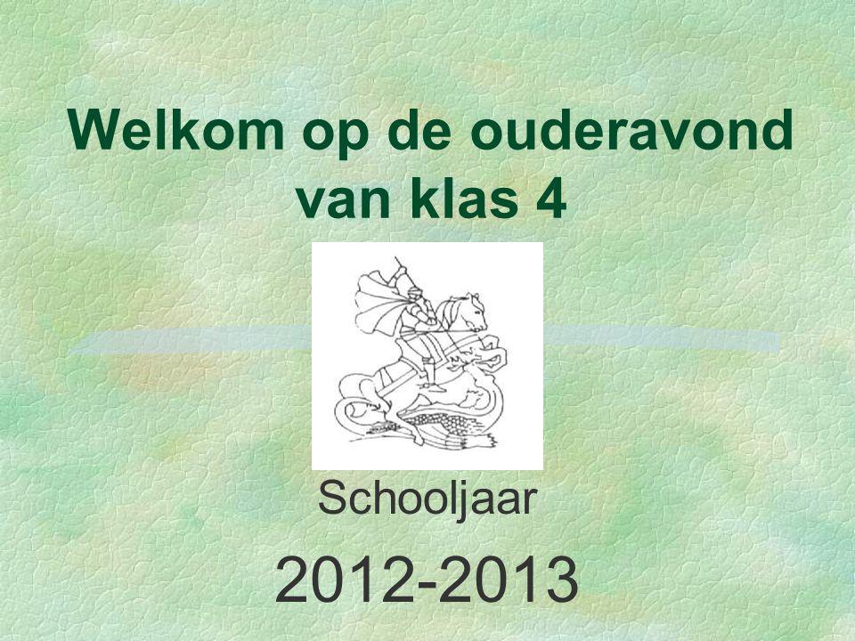 Welkom op de ouderavond van klas 4 Schooljaar 2012-2013