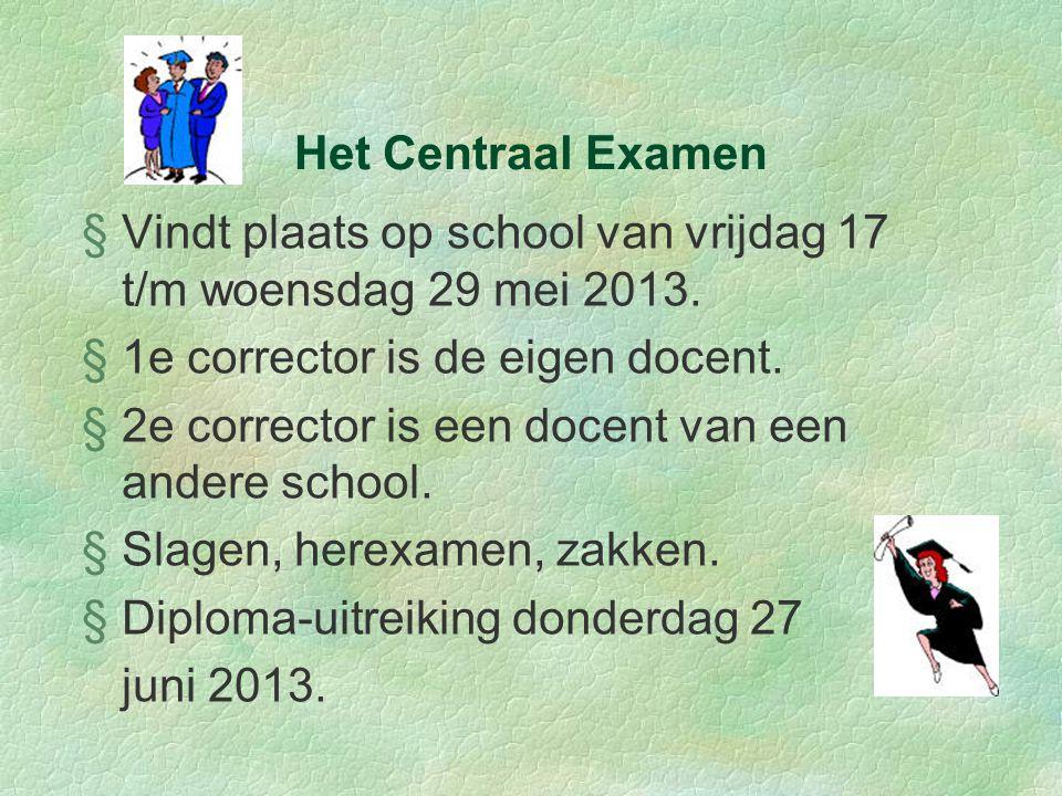 Het Centraal Examen §Vindt plaats op school van vrijdag 17 t/m woensdag 29 mei 2013.