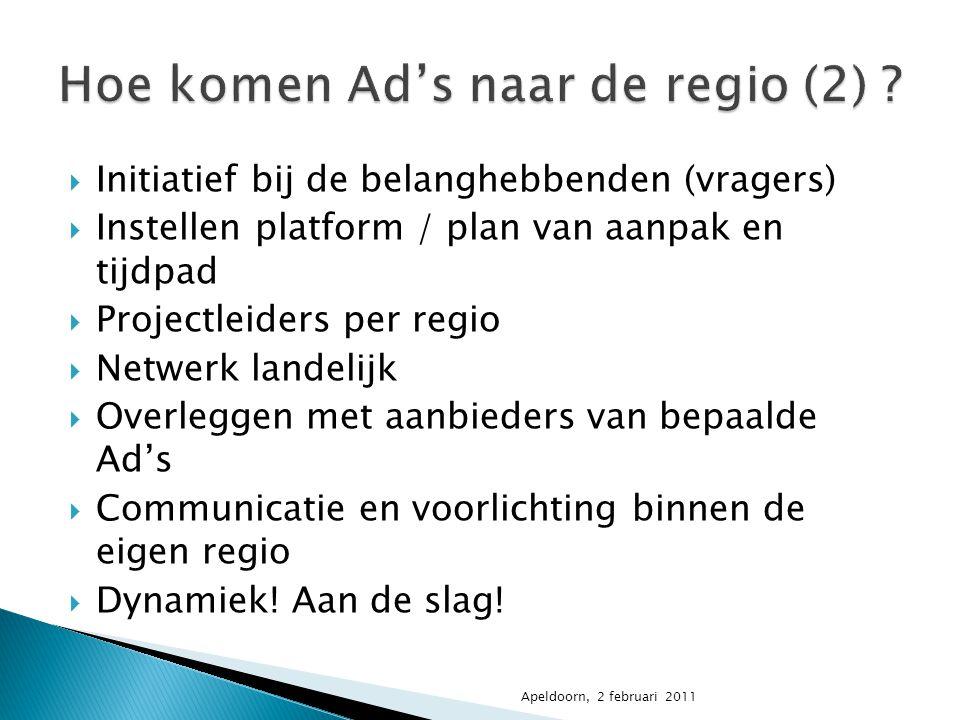  Initiatief bij de belanghebbenden (vragers)  Instellen platform / plan van aanpak en tijdpad  Projectleiders per regio  Netwerk landelijk  Overl