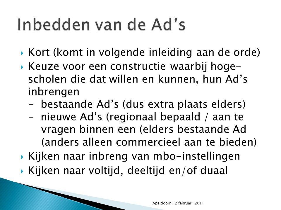  Kort (komt in volgende inleiding aan de orde)  Keuze voor een constructie waarbij hoge- scholen die dat willen en kunnen, hun Ad's inbrengen - best