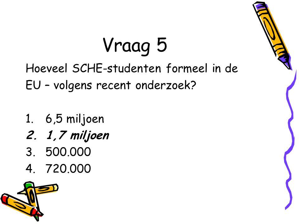 Vraag 5 Hoeveel SCHE-studenten formeel in de EU – volgens recent onderzoek.