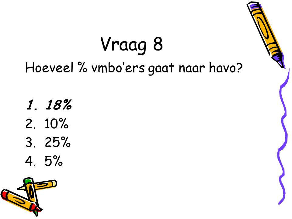 Vraag 8 Hoeveel % vmbo'ers gaat naar havo? 1.18% 2.10% 3.25% 4.5%