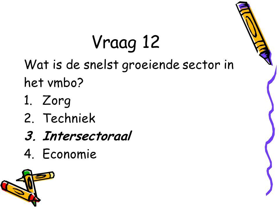 Vraag 12 Wat is de snelst groeiende sector in het vmbo.