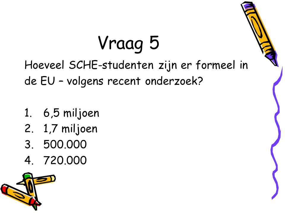 Vraag 5 Hoeveel SCHE-studenten zijn er formeel in de EU – volgens recent onderzoek.