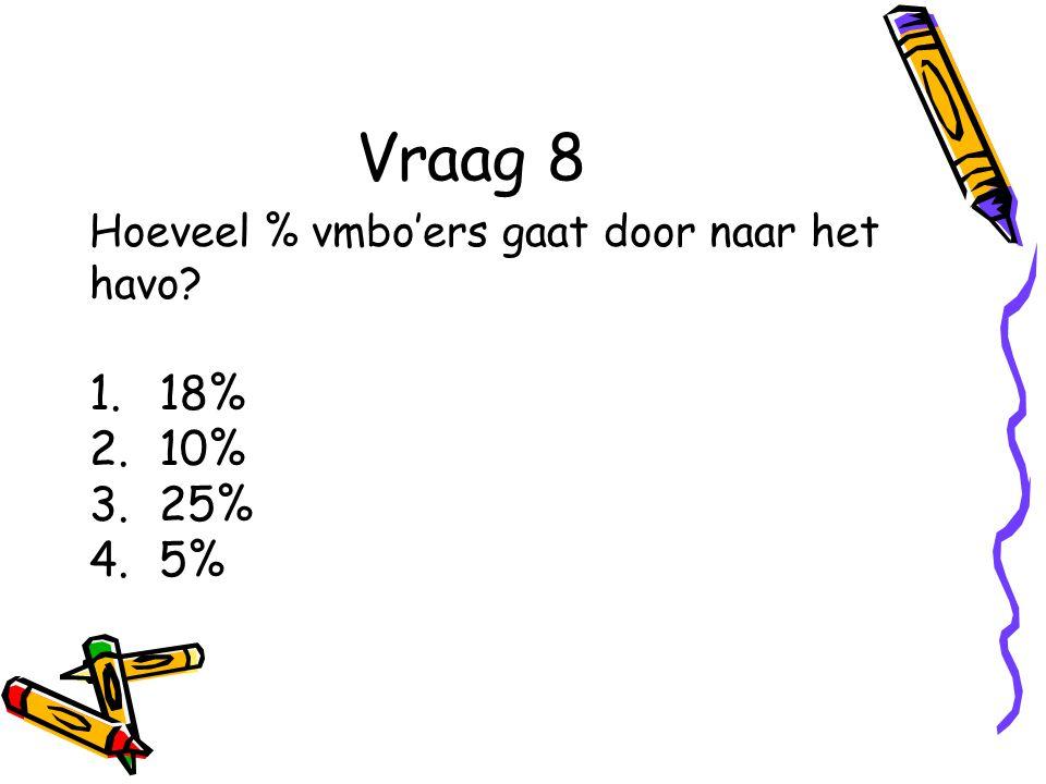 Vraag 8 Hoeveel % vmbo'ers gaat door naar het havo? 1.18% 2.10% 3.25% 4.5%