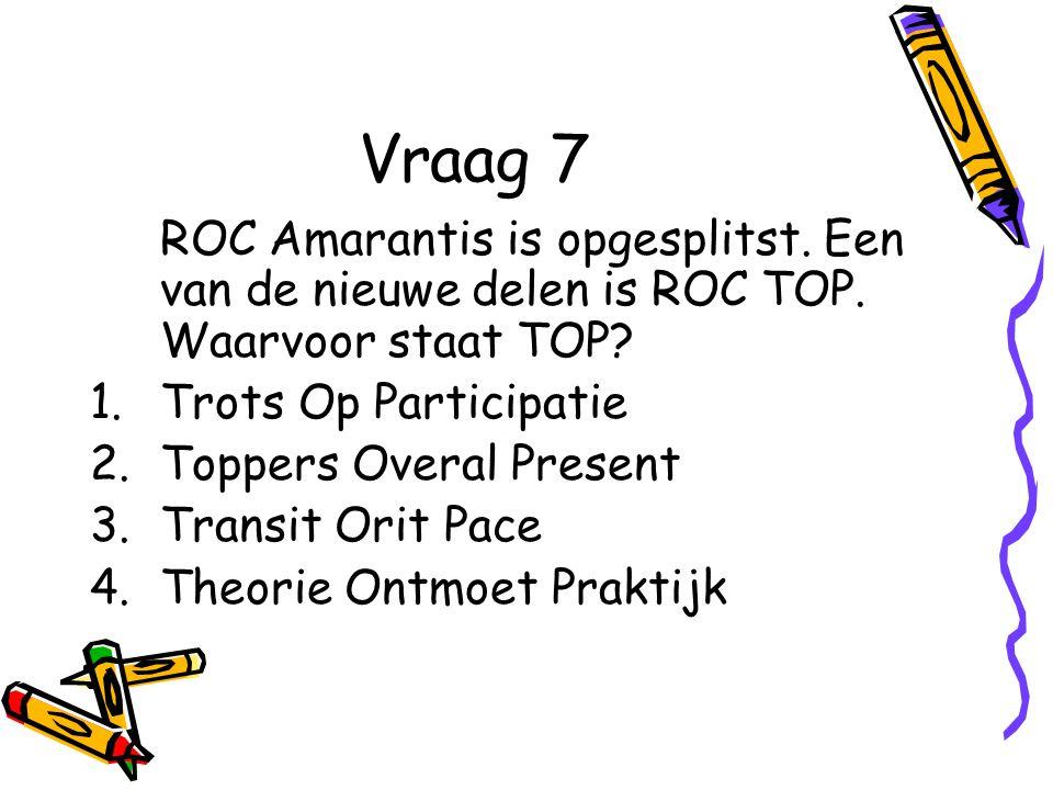 Vraag 7 ROC Amarantis is opgesplitst.Een van de nieuwe delen is ROC TOP.