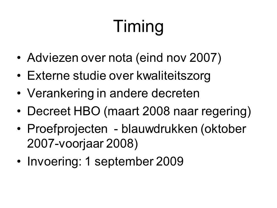 Timing Adviezen over nota (eind nov 2007) Externe studie over kwaliteitszorg Verankering in andere decreten Decreet HBO (maart 2008 naar regering) Proefprojecten - blauwdrukken (oktober 2007-voorjaar 2008) Invoering: 1 september 2009
