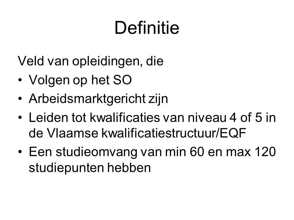 Definitie Veld van opleidingen, die Volgen op het SO Arbeidsmarktgericht zijn Leiden tot kwalificaties van niveau 4 of 5 in de Vlaamse kwalificatiestructuur/EQF Een studieomvang van min 60 en max 120 studiepunten hebben