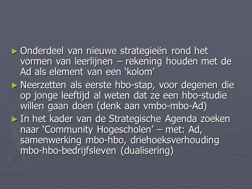 ► Onderdeel van nieuwe strategieën rond het vormen van leerlijnen – rekening houden met de Ad als element van een 'kolom' ► Neerzetten als eerste hbo-stap, voor degenen die op jonge leeftijd al weten dat ze een hbo-studie willen gaan doen (denk aan vmbo-mbo-Ad) ► In het kader van de Strategische Agenda zoeken naar 'Community Hogescholen' – met: Ad, samenwerking mbo-hbo, driehoeksverhouding mbo-hbo-bedrijfsleven (dualisering)