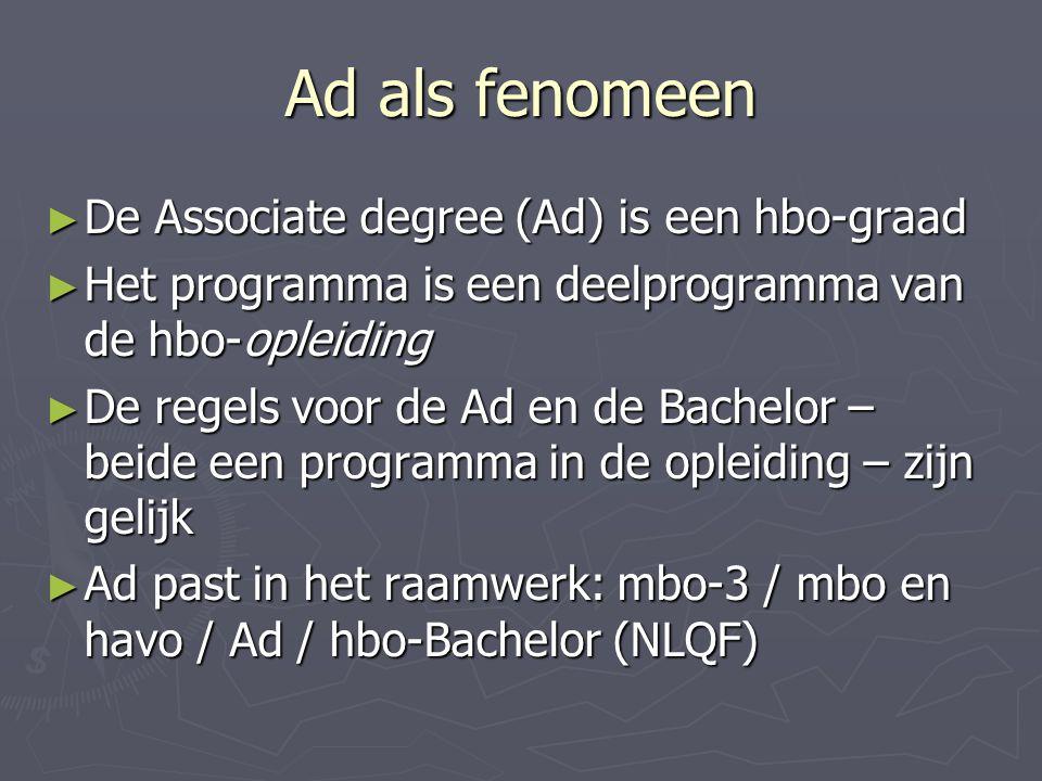 Ad als fenomeen ► De Associate degree (Ad) is een hbo-graad ► Het programma is een deelprogramma van de hbo-opleiding ► De regels voor de Ad en de Bachelor – beide een programma in de opleiding – zijn gelijk ► Ad past in het raamwerk: mbo-3 / mbo en havo / Ad / hbo-Bachelor (NLQF)