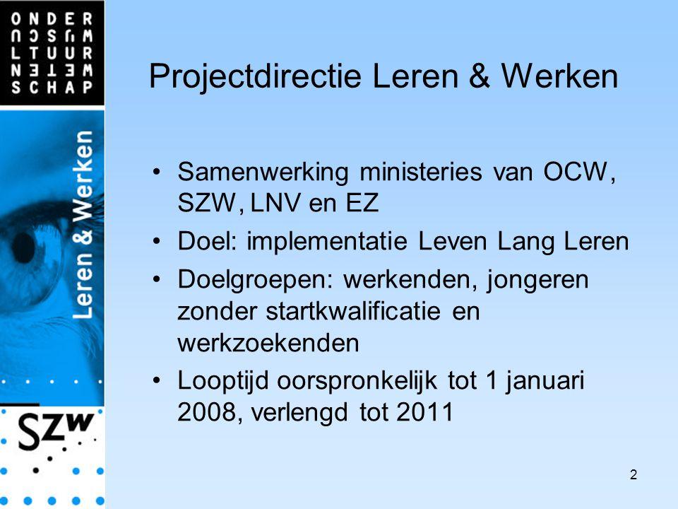 2 Projectdirectie Leren & Werken Samenwerking ministeries van OCW, SZW, LNV en EZ Doel: implementatie Leven Lang Leren Doelgroepen: werkenden, jongeren zonder startkwalificatie en werkzoekenden Looptijd oorspronkelijk tot 1 januari 2008, verlengd tot 2011