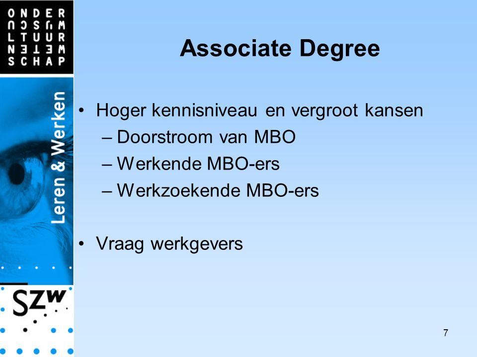 7 Associate Degree Hoger kennisniveau en vergroot kansen –Doorstroom van MBO –Werkende MBO-ers –Werkzoekende MBO-ers Vraag werkgevers