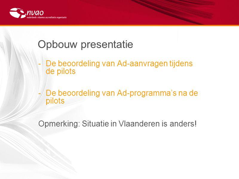 Opbouw presentatie -De beoordeling van Ad-aanvragen tijdens de pilots -De beoordeling van Ad-programma's na de pilots Opmerking: Situatie in Vlaandere