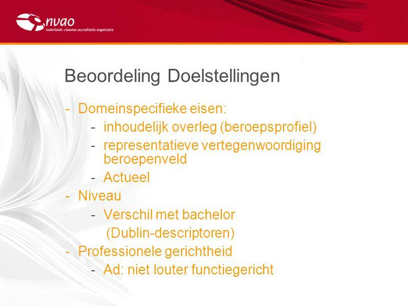 Beoordeling Doelstellingen -Domeinspecifieke eisen: -inhoudelijk overleg (beroepsprofiel) -representatieve vertegenwoordiging beroepenveld -Actueel -N