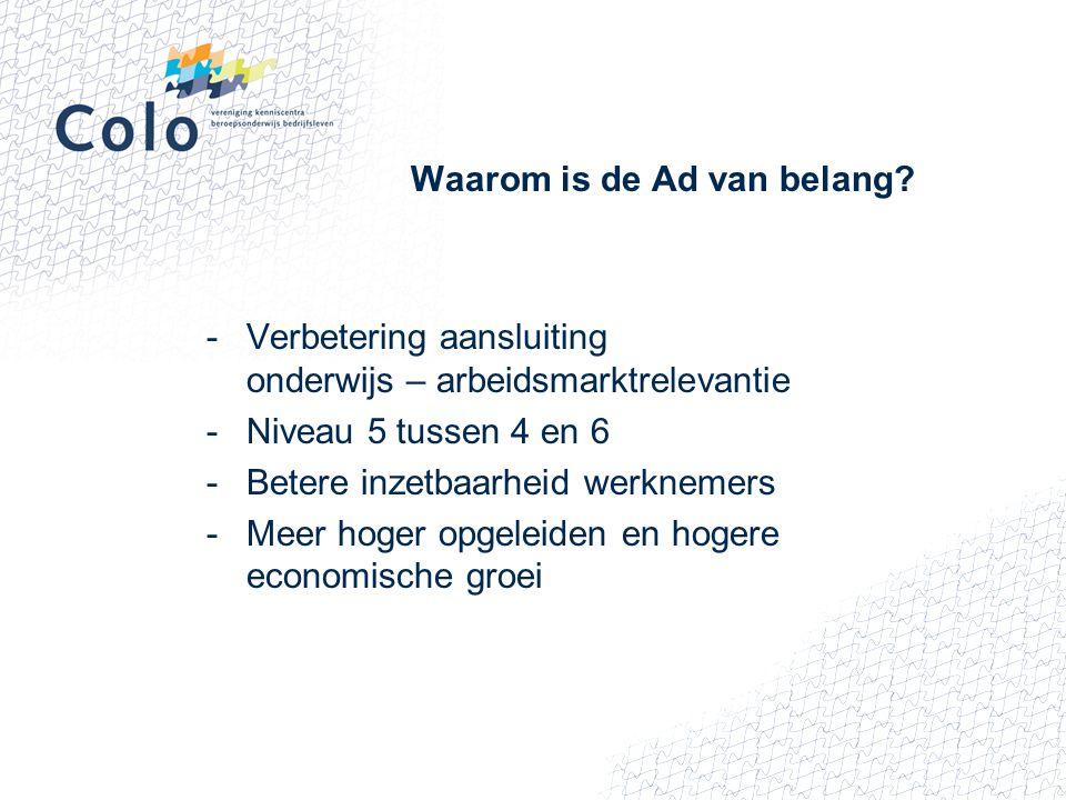Waarom is de Ad van belang? -Verbetering aansluiting onderwijs – arbeidsmarktrelevantie -Niveau 5 tussen 4 en 6 -Betere inzetbaarheid werknemers -Meer