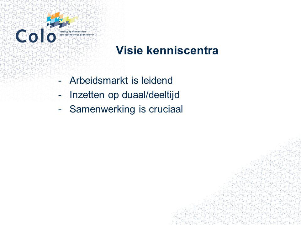 Visie kenniscentra -Arbeidsmarkt is leidend -Inzetten op duaal/deeltijd -Samenwerking is cruciaal